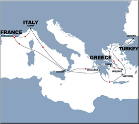Corinth Canal, Greek Islands & Istanbul Cruise Route Map