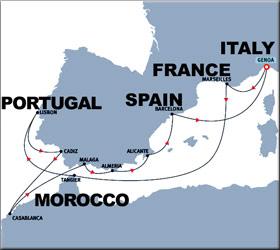 Moorish Coasts Cruise Route Map