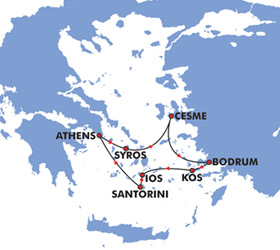 Idyllic Aegean (4 Day) Cruise Route Map