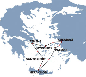 Iconic Aegean (3 Day) Cruise Route Map