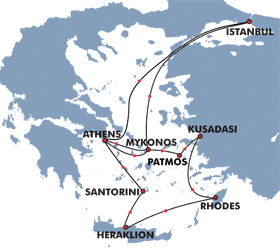 Iconic Aegean (7 Day) Cruise Route Map