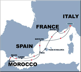 Spanish Odyssey Cruise Route Map