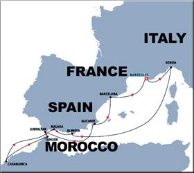 Iberian Coasts Cruise Route Map