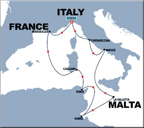 Tunis, Malta & Italy Cruise Route Map